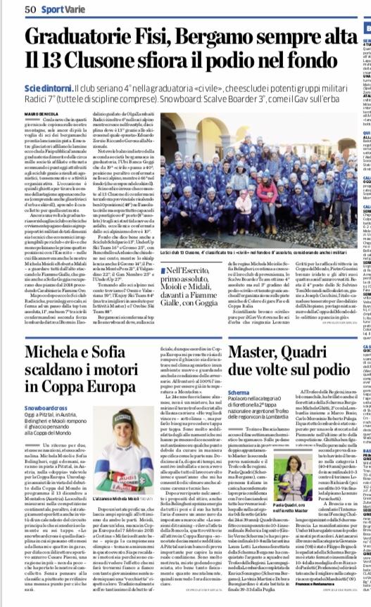 L'Eco di Bergamo di oggi - FISI Bergamo